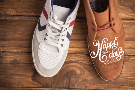 dressy: fathers day greeting against casual and dressy mens shoes
