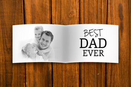 Composite image of fathers day gift and family picture photo