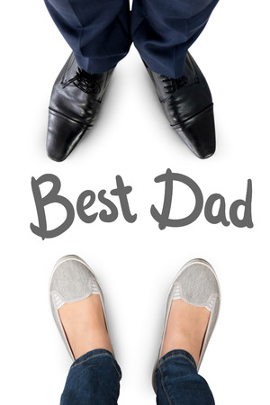trouser legs: Businessman standing isolated on white background against happy fathers day