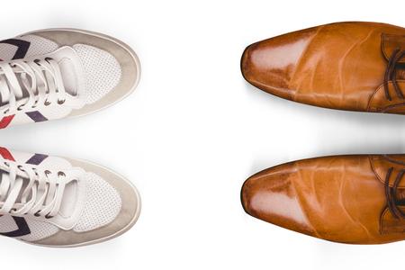 sportwear: Focus of brown dress shoes  against focus of sport-wear shoes