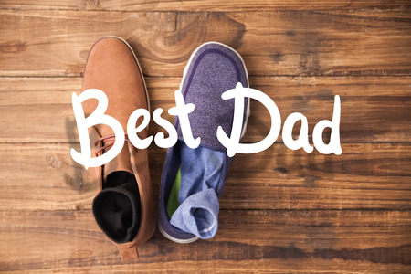 dressy: happy fathers day against casual and dressy mens shoes Stock Photo