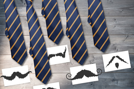 bleached: Composite image of ties and mustaches on wooden background