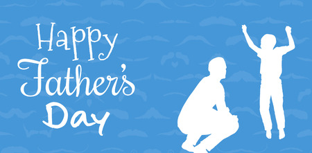 one parent: Happy fathers day against blue background Stock Photo