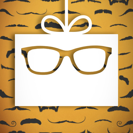 lazo regalo: Icons of glasses and tie against white gift with ribbon