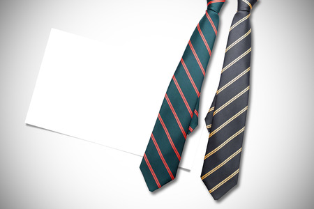 ie: blue tie with diagonal line against white background with vignette Stock Photo