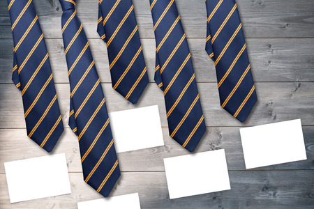 ie: blue tie with diagonal line against white card Stock Photo