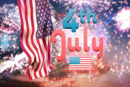 american flag fireworks: Independence day graphic against colourful fireworks exploding on black background Stock Photo
