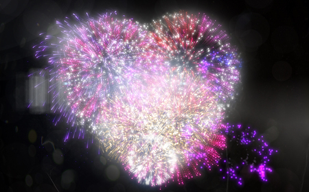 digitally: Digitally generated colourful fireworks exploding on black background