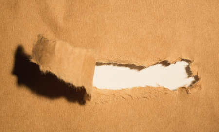 cut or torn paper: Close-up of damaged brown paper of box
