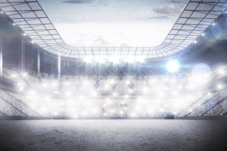 spectator: View of a sports arena with spotlights