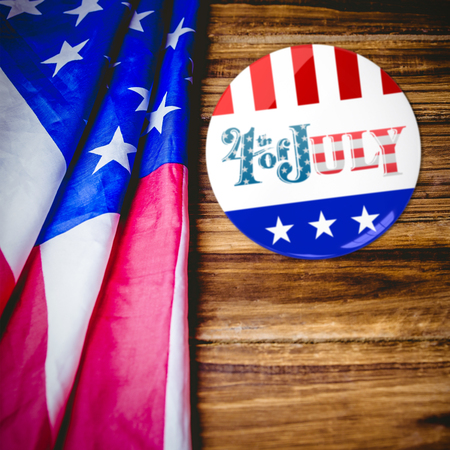 vote button: Vote button against usa flag on table