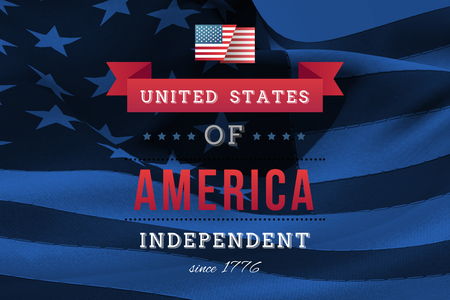 rippling: Independence day graphic against digitally generated american flag rippling