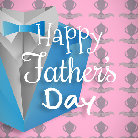computer animation: Happy fathers day message on pink background