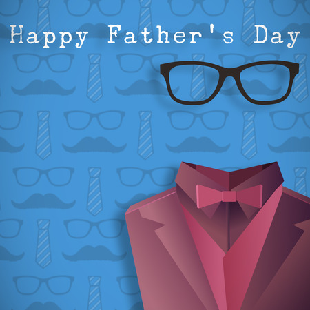 well dressed: Word happy fathers day against digitally generated icon of a buste