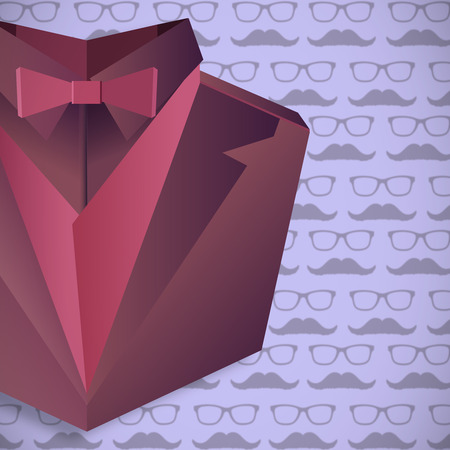 well dressed: Digitally generated suit against graphic of man faces with mustache and glasses
