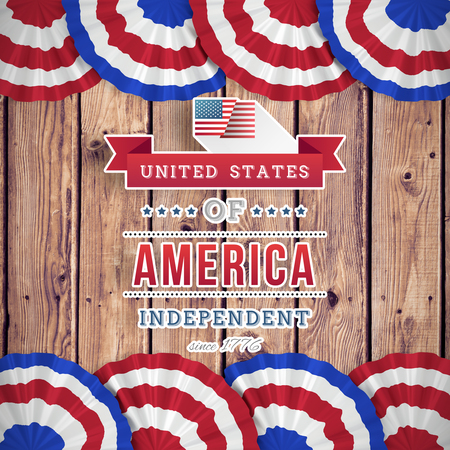 planks: Independence day graphic against wooden planks background