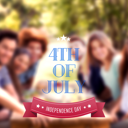 Independence day graphic against happy friends in the park having lunch