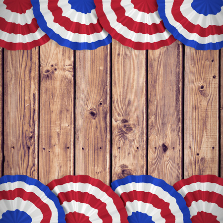 wooden circle: Focus on circle  against wooden planks background Stock Photo
