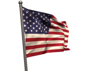 old glory: American flag on metal pole against white background Stock Photo