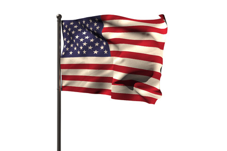old glory: Pole with American flag against white background Stock Photo