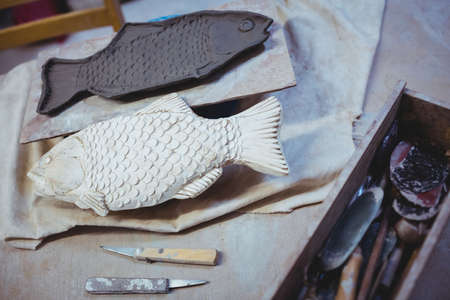 immovable: High angle view of clay fishes at potter workshop