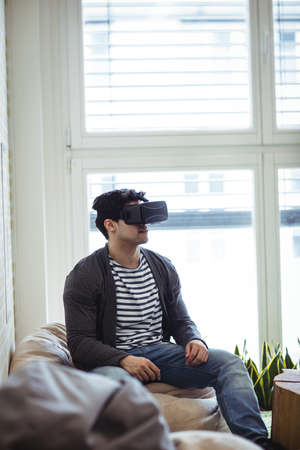 virtual reality simulator: Photo editor using virtual reality simulator in creative office