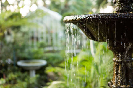 community garden: Close-up of flowing fountain in community garden LANG_EVOIMAGES