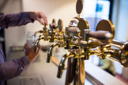 beer pump: Close-up of beer pump at restaurant LANG_EVOIMAGES