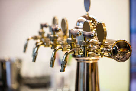 beer pump: Close-Up of beer pump in a row in restaurant