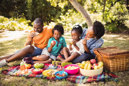 closeness: Happy family eating together at park Stock Photo