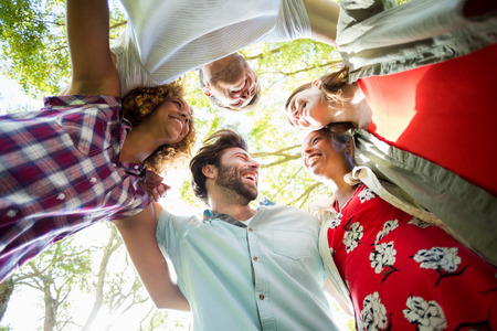forming: Group of friends forming huddles in park Stock Photo