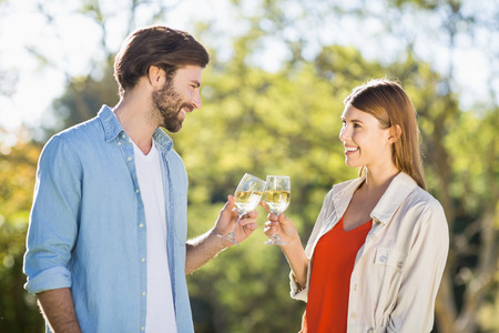 toasting wine: Couple toasting wine glasses in park Stock Photo