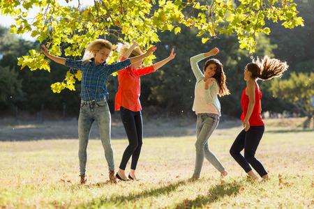 trato amable: Grupo de amigos bailando en el parque el d�a soleado