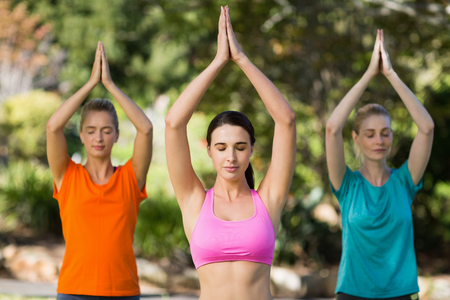 practicing: Beautiful women practicing yoga in park