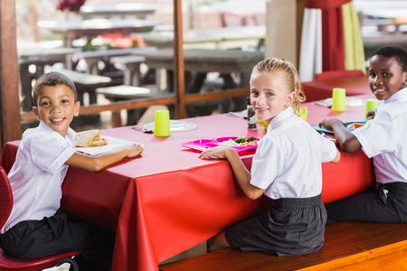 school cafeteria: Portrait of children having lunch during break time in school cafeteria Stock Photo