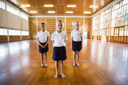 school gym: Portrait of smiling students standing in school gym Stock Photo