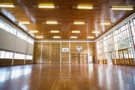 school gym: Interior of school gym hall with basketball court