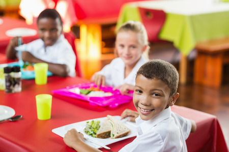 school cafeteria: Happy children having lunch during break time in school cafeteria Stock Photo