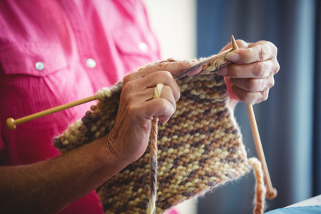 sheltered accommodation: Close-up of someone doing knitting