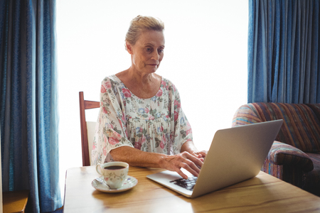 sheltered accommodation: Portrait of concentrated senior woman using a laptop beside a cup of coffee