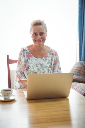 sheltered accommodation: Portrait of smiling senior woman using a laptop