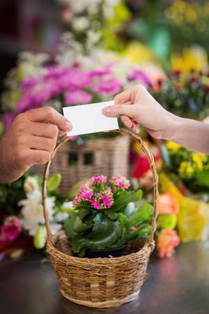visiting: Florist giving visiting card to customer in the flower shop