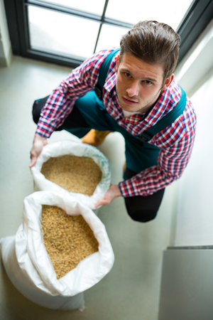 brewer: Portrait of brewer with sack of grains at brewery factory