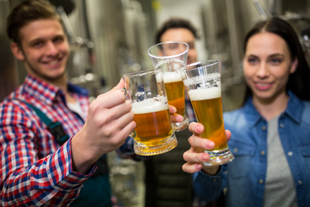 brewers: Brewers toasting beers at brewery factory
