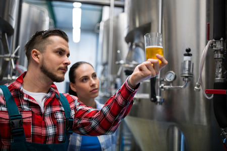 brewers: Brewers testing beer at brewery Stock Photo