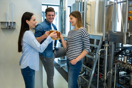 brewers: Happy brewers toasting beers at brewery Stock Photo