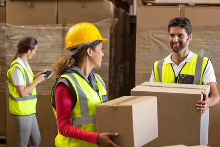 cajas de carton: Retrato de los trabajadores son la celebración de cajas de cartón y mirando el uno al otro en un almacén