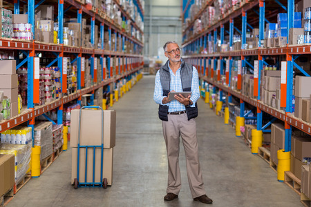 View of manager is holding a tablet and looking shelves in a warehouse Stock Photo