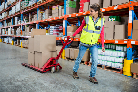 pushing: Worker pushing trolley with boxes in warehouse