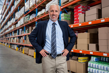 organised: Manager posing for the camera in a warehouse Stock Photo